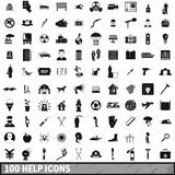 100 help icons set, simple style. 100 help icons set in simple style for any design vector illustration Royalty Free Stock Images
