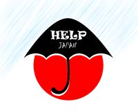 Help japan under umbrella Royalty Free Stock Photo