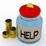 Help Jar Means Financial Aid Or Assistance. Help Jar Meaning Financial Aid Or Assistance Stock Photos