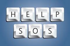 Help Key. Help SOS Key Vector Drawing Royalty Free Stock Photos