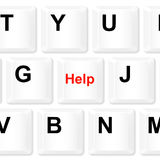 Help keyboard button. Stock Photo