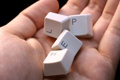 HELP - keyboard in a hand ! Close-up with great details ! Stock Image