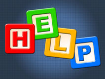 Help Kids Blocks Shows Information Youngsters And Question. Help Kids Blocks Indicating Helping Toddlers And Support Royalty Free Stock Photography