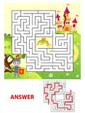 Help knight find path to princess. Labyrinth. Maze game for kids Royalty Free Stock Photography