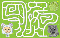 Help lamb pass through a maze and don't get lost vector illustration