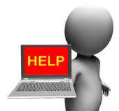 Help On Laptop Shows Helping Customer Service Help Desk Or Suppo Royalty Free Stock Image