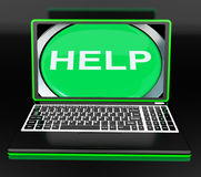 Help On Laptop Shows Helping Customer Service Helpdesk Or Suppor Royalty Free Stock Image