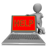 Help On Laptop Shows Helping Customer Service Helpdesk Or Suppor Royalty Free Stock Photo