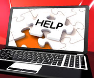 Help Laptop Shows Helping Service Helpdesk Stock Image