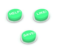 Help, Like and Save Buttons. On white background Royalty Free Stock Photos