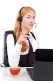 Help line assistant pointing at you Royalty Free Stock Photography