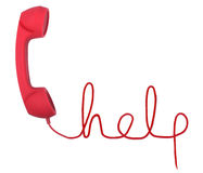 Help line. Red telephone with help text  isolated on a white background Royalty Free Stock Images