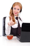Help-line woman assistant with thumb up Stock Images