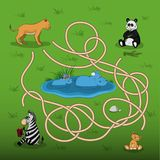 Help the lioness to find baby in the maze. Kid`s game: search the correct way. Animals of  zoo. Vector illustration Royalty Free Stock Image