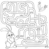 Help little bunny find path to carrot. Labyrinth. Maze game for kids. Black and white vector illustration for coloring book. Vector isolated illustration royalty free illustration