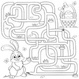 Help little bunny find path to Easter basket with eggs. Labyrinth. Maze game for kids. Black and white vector illustration for col. Oring book. Vector isolated Royalty Free Stock Photography