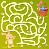 Help little bunny find path to easter basket with eggs. Labyrinth. Maze game for kids vector illustration