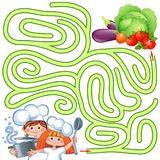 Help little chefs find path to vegetable. Labyrinth. Puzzle. Maze game for kids. Vector isolated illustration Stock Illustration