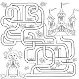 Help little cute princess find path to castle. Labyrinth. Maze game for kids. Black and white illustration for coloring book stock illustration
