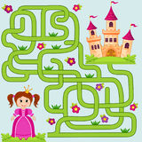 Help little cute princess find path to castle. Labyrinth. Maze game for kids Stock Image