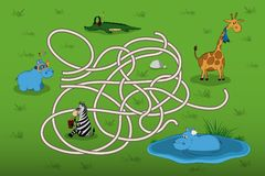 Help the little hippo to find mother in the maze. Kid`s game: search the correct way. Animals of  zoo. Vector illustration Royalty Free Stock Image