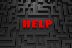 Help - Lost in a 3d maze. Lost in a dark maze, crying for help, a 3d image royalty free illustration
