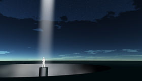 Man in beam of light Stock Image