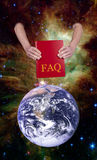 Help Mankind Frequently Asked Questions, FAQ. The cosmos reaches out to Mankind and Humanity with help. A deity provides a book of answers to Frequently Asked Royalty Free Stock Photo