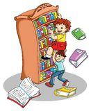 Help me. Colored illustration of an amusing scene in the library Stock Photo