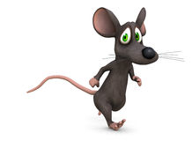 Help me. A mouse runs away from something scary on a white background (3d rendered Royalty Free Stock Photography