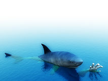Help Me. An image of a shark that is after a man. It would be a good conceptual image for people that are requesting help Stock Photos