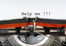 Help me written   typewriter Stock Photography