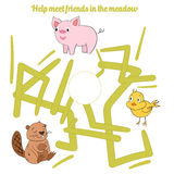 Help meet friends in the meadow child game. Cartoon hand drawn doodle vector illustration Stock Photos