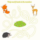 Help meet friends in the meadow child game Stock Photos