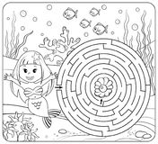 Help mermaid find path to pearl. Labyrinth. Maze game for kids. Coloring page. Vector illustration royalty free illustration