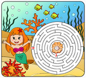 Help mermaid find path to pearl. Labyrinth. Maze game for kids Vector Illustration
