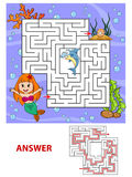 Help mermaid find path to pearl. Labyrinth. Maze game for kids Royalty Free Stock Photography