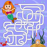 Help mermaid find path to pearl. Labyrinth. Maze game for kids Stock Photos