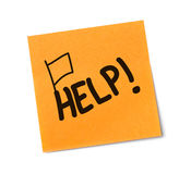 Help message on adhesive note Stock Photos