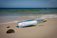 Help message in bottle. Help message in the bottle on a sea shore Stock Photography
