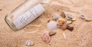 HELP Message In A Bottle III Royalty Free Stock Images