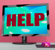 Help On Monitor Shows Helpline Helpdesk Or Support Royalty Free Stock Images