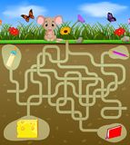 Help the mouse to find the cheese!. Illustration of Help the mouse to find the cheese Royalty Free Stock Image