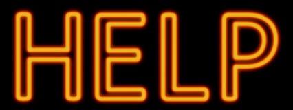 Help neon sign. Abstract 3d rendered words help orange neon sign on black background vector illustration