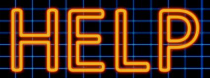 Help neon sign. Abstract 3d rendered words help orange neon sign on blue wire background stock illustration