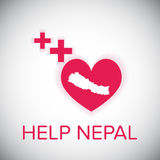 Help nepal heart and plus red symbol Royalty Free Stock Images