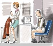 Help in the office. A woman is helping her man colleague by fixing his trouser Royalty Free Stock Image