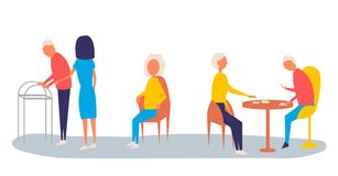 Help old disabled people. Social worker of volunteer community helps elderly citizens at home and sick character patients on stock illustration