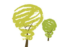Help our environment by saving energy. Trees illustrated as bulbs as a symbol for saving energy Stock Image