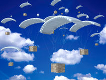 Help Packages. An illustrated background of help packages flown down using parachutes in the sky vector illustration